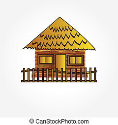 hut on island vector,home vector