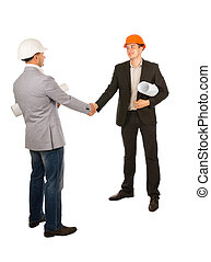 Two Male Young Engineers Shaking Hands Isolated on White...