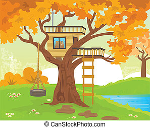 Tree house - Cute tree house with a tire swing, near the...