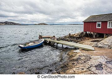 Boat dock on the island Orust in Sweden.