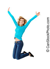 Young casual woman, student jumping - Young casual woman,...
