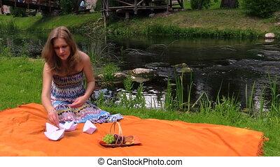 pregnant woman paper ship - Pregnant woman near river water...