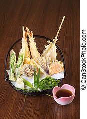 japanese cuisine. tempura. Deep fried mix vegetable on the...