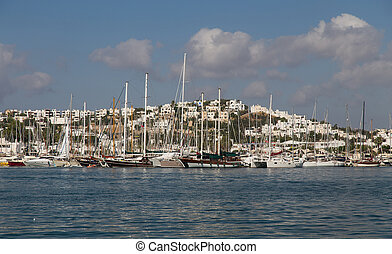 Bodrum Marina - Boats in Bodrum Marina, Aegean Coast of...
