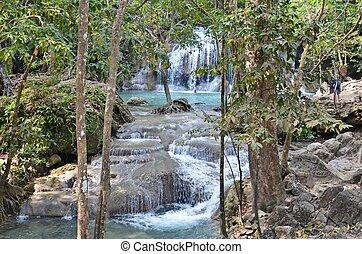 erawan waterfall in thailand - beautiful waterfall in Erawan...