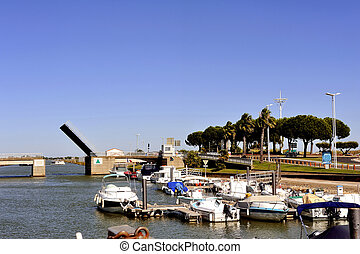 Lift Bridge at Grau-du-Roi, French Camargue town in...