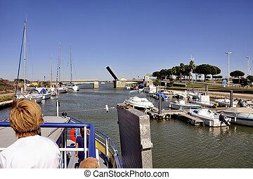 Lift Bridge at Grau-du-Roi, French Camargue town in...