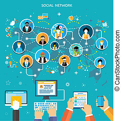 Social media network connection concept. People in a social...