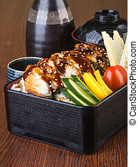 japanese cuisine. lunch box set on the background - japanese...