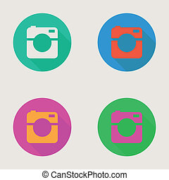 Hipster photo or video camera icon, minimalism style, flat design