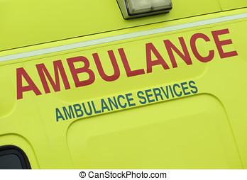 Ambulance services - Closeup of sign on NHS ambulance...