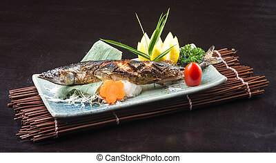 japanese cuisine fried fish on the background - japanese...