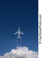 passenger plane - clouds and passenger plane in 3d
