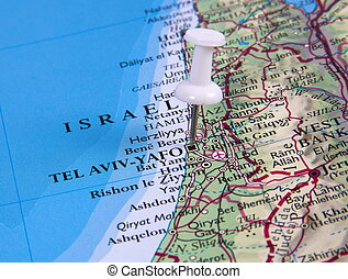 pin in map - Tel Aviv in the map with pin