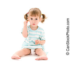 little girl - picture of little girl with cotton sticks over...
