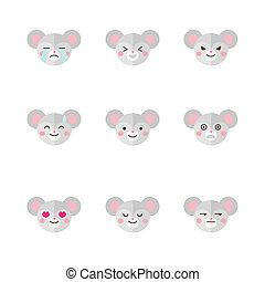 Vector minimalistic flat mouse emotions icon set - Vector...