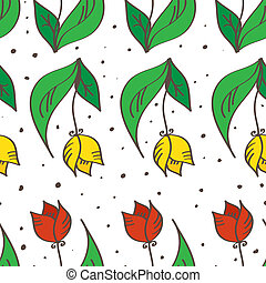 Vector hand drawn seamless tulips pattern. Can be used for wallpapers, cards, pillows and package design