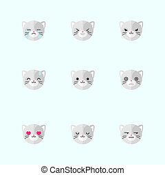 Vector minimalistic flat cat emotions icon set - Vector...