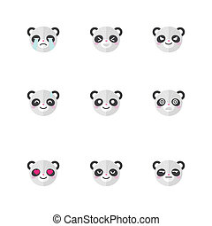 Vector minimalistic flat panda emotions icon set - Vector...