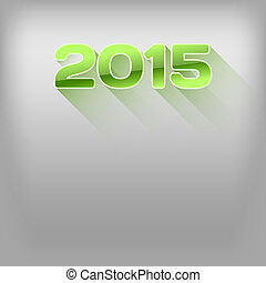 Long Shadows 2015 - New year 2015. Simple green numbers with...