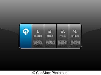Glossy Interface - Gray buttons on the black panel Blue...