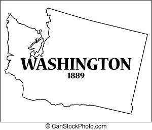 Washington State and Date - A Washington state outline with...