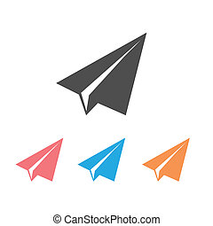 Paper airplane flat icons isolated on white