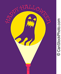 Flashlight and ghost - illustration of a flashlight and...