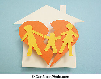 Torn apart - Paper family over torn heart, on house -...