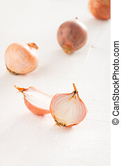 Shallot - Best cooking Shallot on white wooden table,close...