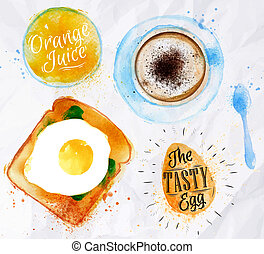 Breakfast toast egg juice - Breakfast painted watercolor...