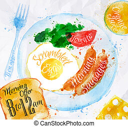 Breakfast watercolors sausage eggs - Breakfast painted with...