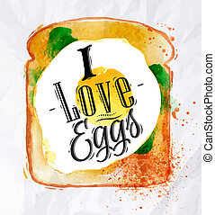 Toast with scrambled eggs - Breakfast painted watercolor...