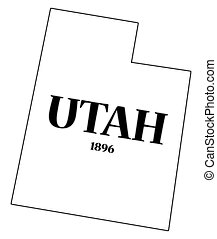 Utah State and Date - A Utah state outline with the date of...
