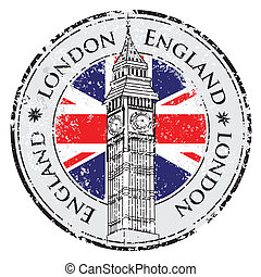 Rubber grunge stamp London Great Britain, Big Ben tower and...