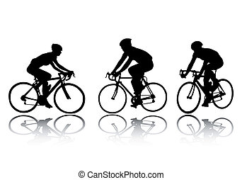 bicyclist silhouettes - vector