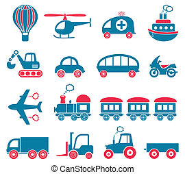 Transport icons - Blue and red cute vector transport icons...