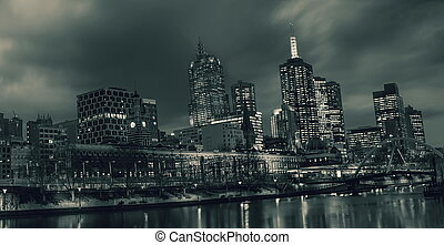 melbourne - Melbourne city at night,toned picture