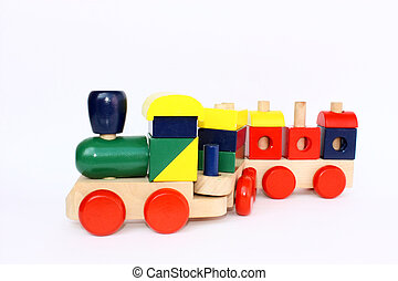 Little wooden train toy - a colorful wooden train toy for...