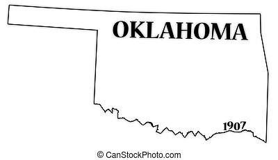 Oklahoma State and Date - An Oklahoma state outline with the...