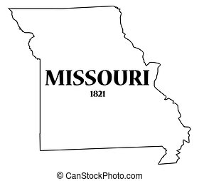 Missouri State and Date - A Missouri state outline with the...