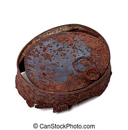 Old rusty tincan isolated on white background Top view
