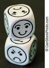 dados, oposta, triste, Feliz, Emoticon, Lados