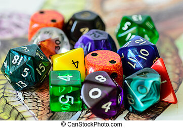 role playing dices lying on picture background - stock photo