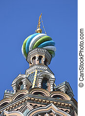 Dome of orthodox church Spas na Krovi in St.Petersburg,...
