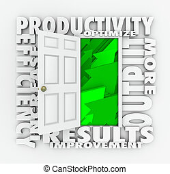 Productivity Efficiency 3d Word Door Improve Results Output...