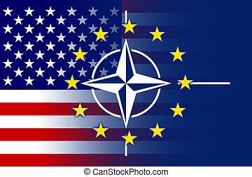 Nato, EU and USA Flag