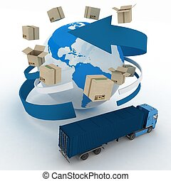3d cardboard boxes around globe and truck on white...