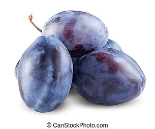 Fresh plums isolated on a white background. Clipping Path