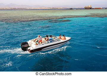 Motorboat in the Red Sea